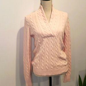 RALPH LAUREN Chunky Knit Mock V Neck Sweater Pink
